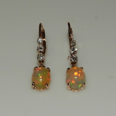 1.80 Carat Ethiopian Opal And Diamond Earring In 14k Rose Gold
