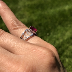 1.81 Carat Madagascar Ruby And Diamond Ring In 14k White Gold