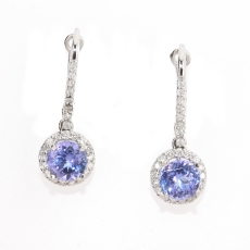 1.81 Carat Tanzanite And Diamond Halo Earring In 14k White Gold