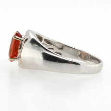 1.84 Carat Orange Sapphire And Diamond Ring In 14k White Gold