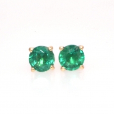 1.84 carat Zambian emerald  stud earring in 14k Yellow gold