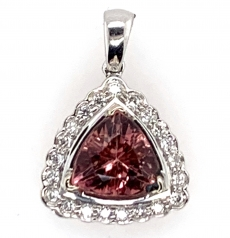 1.86 Carat Pink Tourmaline And Diamond Pendant In 14k White  Gold