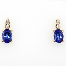 1.86 Carat Tanzanite And Diamond Earring In 14k Yellow Gold