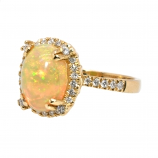 1.88 Carat Ethiopian Opal And Diamond Halo Ring In 14K Yellow Gold