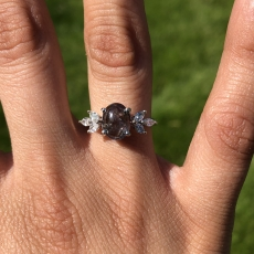 1.88 Carat Natural Alexandrite And Diamond Ring In 14K White Gold