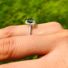 1.89 Carat Chrome Tourmaline And Diamond Ring In 14k White Gold