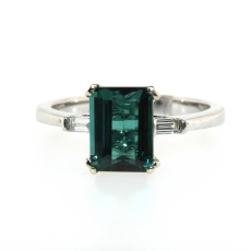 1.90 Carat Indicolite Tourmaline And Diamond Ring In 14k White Gold