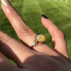 1.91 Carat Ethiopian Opal And Diamond Ring In 14k Rose Gold
