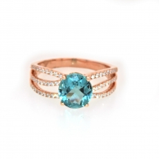 1.92 Carat Apatite And Diamond Ring In 14k  Rose Gold