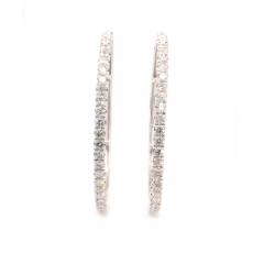 1.96 Carat Diamond Huggie Earring In 14k White Gold