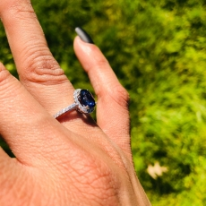 1.97 Carat Nigerian Blue Sapphire And Diamond Halo Ring In 14k Yellow Gold