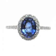1.97 Carat Nigerian Blue Sapphire And Diamond Ring In 14k Yellow Gold