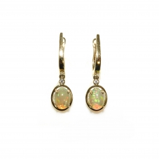 1.98 Carat Ethiopian Opal And Diamond Earring In 14k Yellow Gold