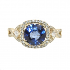 1.99 Carat Nigerian Blue Sapphire And Diamond Ring In 14k Yellow Gold