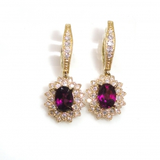 2 Carat Rhodolite Garnet And Diamond Earring In 14k Yellow Gold