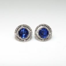2.03 Carat Thai Blue Sapphire And Diamond Earring In 14k White Gold