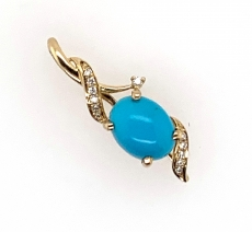 2.05 Carat Turquoise  And  Diamond Pendant In 14k Yellow  Gold