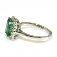 2.05 Carat Zambian Emerald And Diamond Ring In 14k White Gold