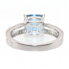 2.06 Carat Aquamarine And Diamond Split Shank Ring In 14k White Gold