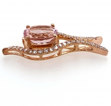 2.08 Carat Morganite  And Diamond In 14k Rose Gold
