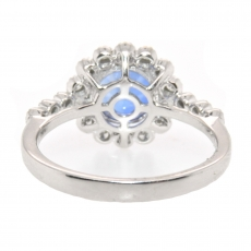 2.09 Carat Nigerian Blue Sapphire And Diamond Flower Halo Ring In 14k White Gold