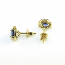 2.10 Carat Blue Sapphire And Diamond Earring In 14k Yellow Gold