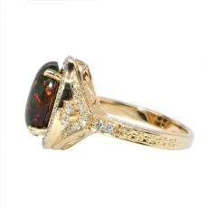 2.10 Carat Ethiopian Black Opal And Diamond Halo Ring In 14k White Gold