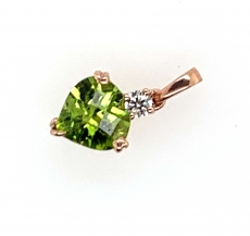 2.15 Carat Peridot  And Diamond Pendant In 14k Yellow  Gold