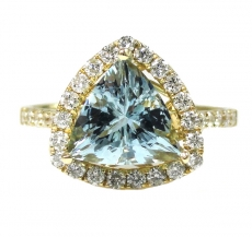 2.16 Carat Aquamarine And Diamond Engagement Halo Ring In 14K Yellow Gold