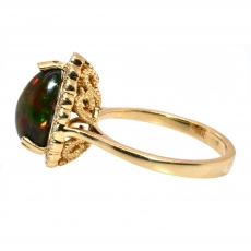 2.16 Carat Ethiopian Black Opal And Diamond Ring In 14k Yellow Gold