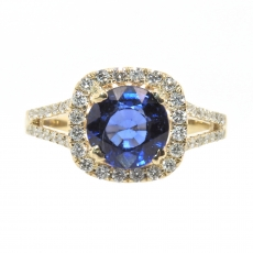 2.17 Carat Nigerian Blue Sapphire And Diamond Halo Split Shank Ring In 14k Yellow Gold