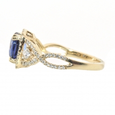 2.19 Carat Nigerian Blue Sapphire And Diamond Ring In 14k Yellow Gold