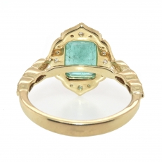 2.20 Carat Emerald And Diamond Engagement Ring In 14k Yellow Gold
