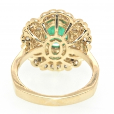 2.23 Zambian Emerald & Diamond ring in 14K Yellow gold