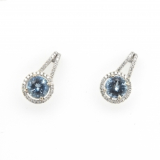 2.24 Carat Aquamarine And Diamond Earring In 14k White Gold