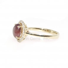 2.25 Carat Star Ruby And Diamond Ring In 14k Yellow Gold