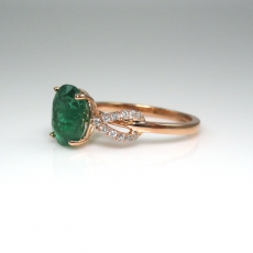 2.25 CARAT ZAMBIAN EMERALD AND DIAMOND RING IN 14K ROSE GOLD