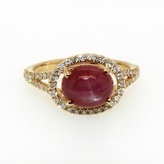 2.25carat Star Ruby And Diamond Ring In 14k Yellow Gold