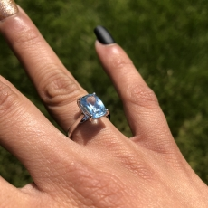 2.28 Carat Aquamarine And Diamond Ring In 14k White Gold