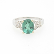 2.29 Carat Indicolite Tourmaline And Diamond Ring In 14k White Gold
