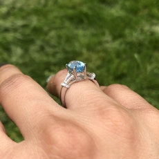 2.30 Carat Aquamarine And Diamond Split Shank Ring In 14k White Gold