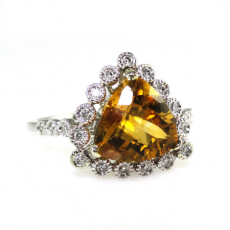 2.30 Carat Citrine & Diamond Ring In 14K White Gold