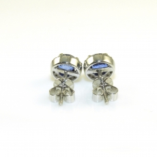 2.31 Carat Blue Sapphire And Diamond Earring In 14k White Gold