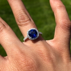 2.32 Carat Nigerian Blue Sapphire And Diamond Halo Ring In 14k White Gold