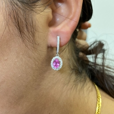 2.33 Carat Pink Sapphire And Diamond Earring In 14k White And Rose Gold (online Exclusive)