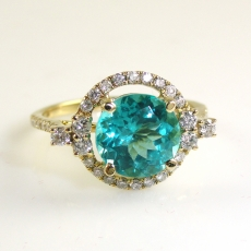 2.36 Carat Apatite And Diamond Ring In 14k Yellow Gold