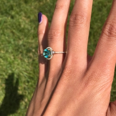 2.36 Carat Paraiba Color Apatite And Diamond Ring In 14k Yellow Gold