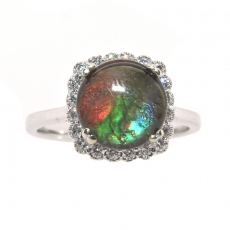 2.37 Carat Fossilized Mineral Organic Gemstone Ammolite And Diamond Halo Ring In 14k White Gold