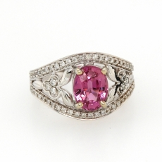 2.39 Carat Pink Sapphire And Diamond Ring In 14k White Gold