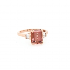 2,43 Carat Pink Tourmaline And Diamond Ring 14k Rose Gold